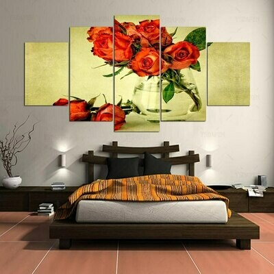 Orange Dry Roses - 5 Panel Canvas Print Wall Art Set