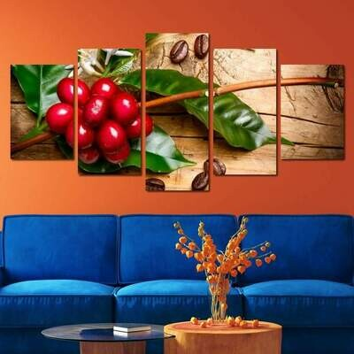 Coffee Plant & Roasted Coffee Beans - 5 Panel Canvas Print Wall Art Set
