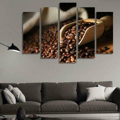 Coffee Scoop - 5 Panel Canvas Print Wall Art Set