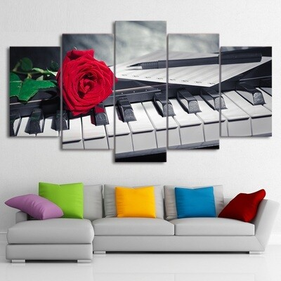 Piano Keys Rose Music Compose - 5 Panel Canvas Print Wall Art Set
