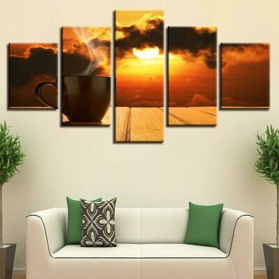 Coffee Sun Sunset - 5 Panel Canvas Print Wall Art Set