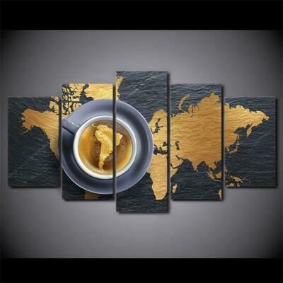 Coffee World Map Artwork - 5 Panel Canvas Print Wall Art Set