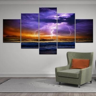 Dark Clouds Lightning Sea Ocean Storm- 5 Panel Canvas Print Wall Art Set