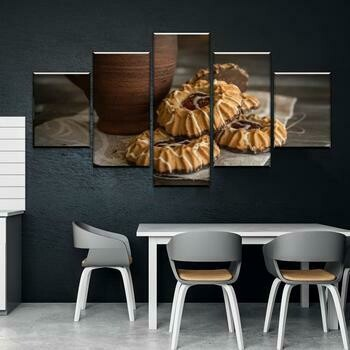 Cookies And Coffee - 5 Panel Canvas Print Wall Art Set