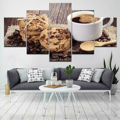 Cup Of Coffe Image - 5 Panel Canvas Print Wall Art Set