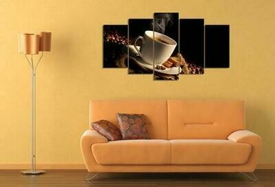 Cup Of Coffee And Coffee Beans - 5 Panel Canvas Print Wall Art Set
