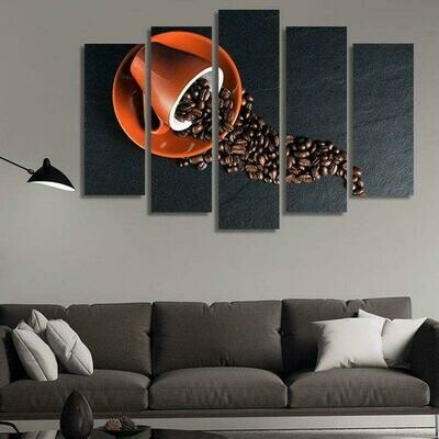 Cup Of Coffee Beans - 5 Panel Canvas Print Wall Art Set