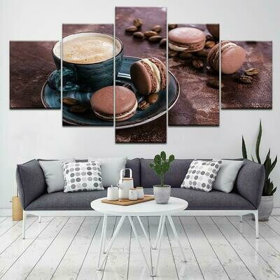 Cup Of Coffee Image - 5 Panel Canvas Print Wall Art Set