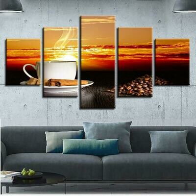 Cup Of Coffee Picture - 5 Panel Canvas Print Wall Art Set