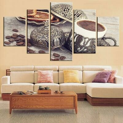 Decor Coffee Bean And Coffee Cup - 5 Panel Canvas Print Wall Art Set