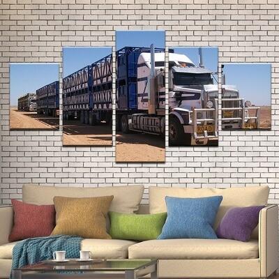 Truck Car Side View Excavator- 5 Panel Canvas Print Wall Art Set