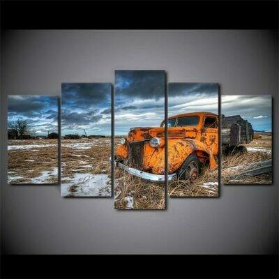 Truck Orange Snow- 5 Panel Canvas Print Wall Art Set
