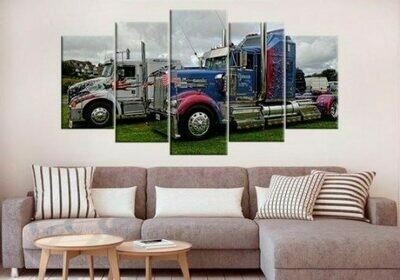 Truck Poster- 5 Panel Canvas Print Wall Art Set