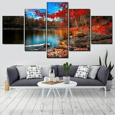 Beautiful Bridge Fall Lake Leaf Nature Rock Tree Water - 5 Panel Canvas Print Wall Art Set
