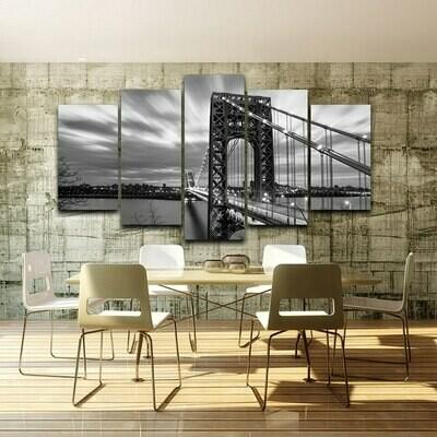 Black White City Bridge - 5 Panel Canvas Print Wall Art Set