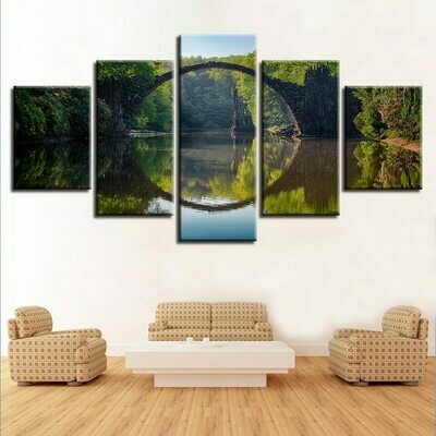 Bridge Forest River And Flower Retro Scenery - 5 Panel Canvas Print Wall Art Set