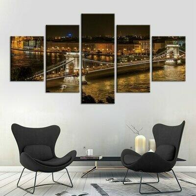 Bridge Night - 5 Panel Canvas Print Wall Art Set
