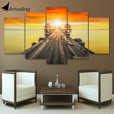 Bridge Sea Scenery Landscape - 5 Panel Canvas Print Wall Art Set
