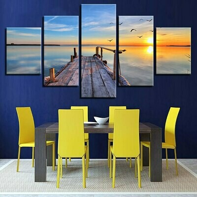 Bridge Seaview Sunset - 5 Panel Canvas Print Wall Art Set