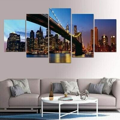 Brooklyn Bridge City Night View - 5 Panel Canvas Print Wall Art Set