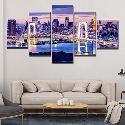 City Bridge - 5 Panel Canvas Print Wall Art Set