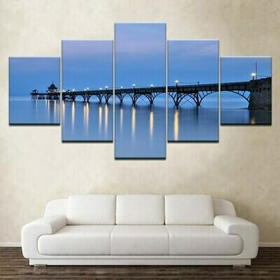 Blue Sky Wooden Bridge Night - 5 Panel Canvas Print Wall Art Set