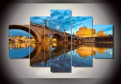 Bridge light on the water - 5 Panel Canvas Print Wall Art Set