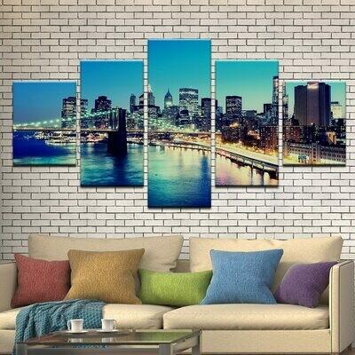 Brooklyn Bridge City Night Landscape - 5 Panel Canvas Print Wall Art Set