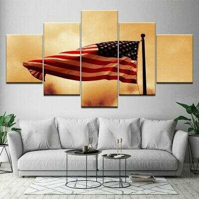 Abstract American Flag - 5 Panel Canvas Print Wall Art Set