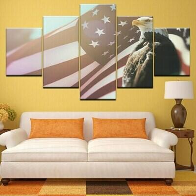 Abstract American Usa Flag Eagle - 5 Panel Canvas Print Wall Art Set
