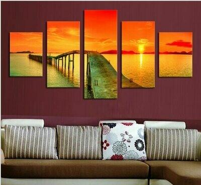Cuadros Sunset Bridge Seascape - 5 Panel Canvas Print Wall Art Set