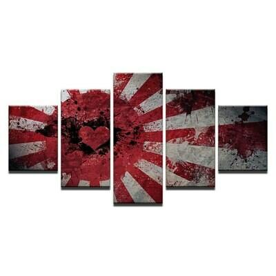 Abstract Love Heart Flag - 5 Panel Canvas Print Wall Art Set