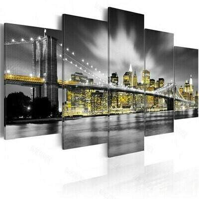 Black And White Light On The Bridge - 5 Panel Canvas Print Wall Art Set