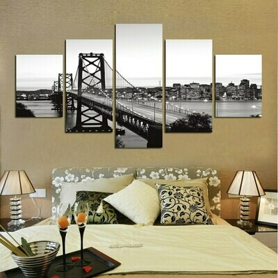 Black White Suspension Bridge - 5 Panel Canvas Print Wall Art Set