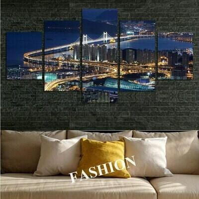 Blue Brooklyn Bridge At Night - 5 Panel Canvas Print Wall Art Set