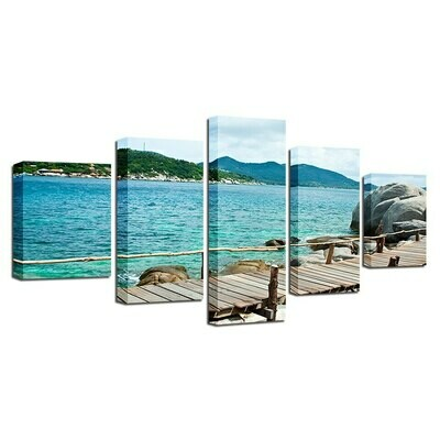 Blue Sea Reef Bridge Mountain Natural Scenery - 5 Panel Canvas Print Wall Art Set