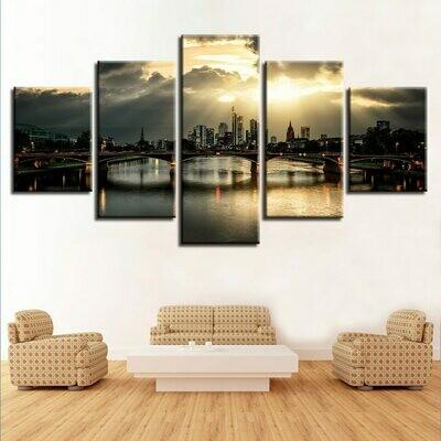 Bridge Building Sunshine City Scenery - 5 Panel Canvas Print Wall Art Set