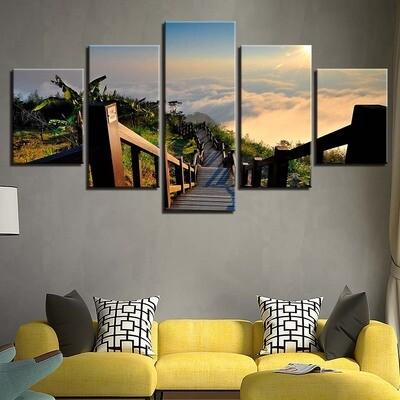 Bridge Tree Sunrise - 5 Panel Canvas Print Wall Art Set