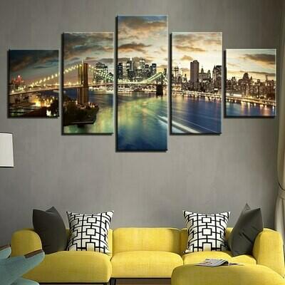 Brooklyn Bridge City Night - 5 Panel Canvas Print Wall Art Set