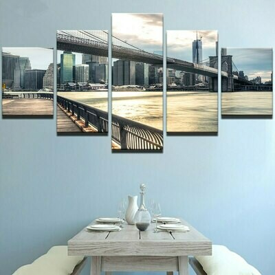 Brooklyn Bridge Landscape - 5 Panel Canvas Print Wall Art Set