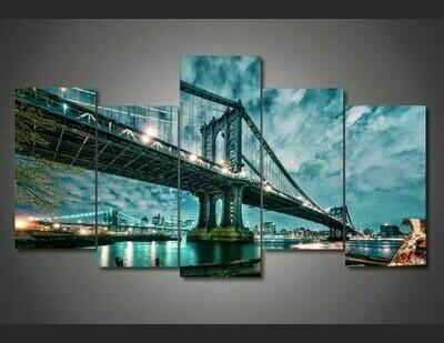 Brooklyn Manhattan Bridge Decorations - 5 Panel Canvas Print Wall Art Set