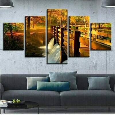 Forest Bridge Scenery - 5 Panel Canvas Print Wall Art Set