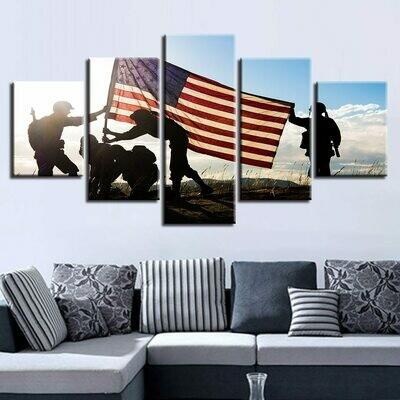 American Flag Abstract - 5 Panel Canvas Print Wall Art Set