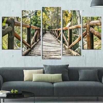 Forest Wooden Bridge - 5 Panel Canvas Print Wall Art Set