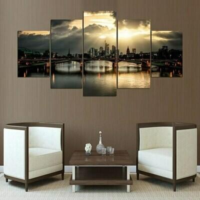 Germany Frankfurt Bridge Landscape - 5 Panel Canvas Print Wall Art Set