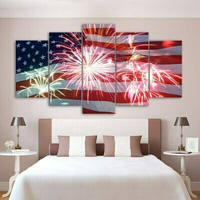 American Flag And Fireworks - 5 Panel Canvas Print Wall Art Set