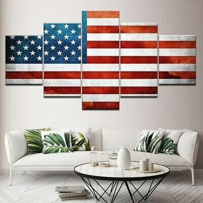 American Flag Hd - 5 Panel Canvas Print Wall Art Set