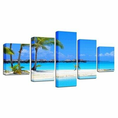 Beach Palm Tree Wood Bridge Blue Sky White Cloud - 5 Panel Canvas Print Wall Art Set