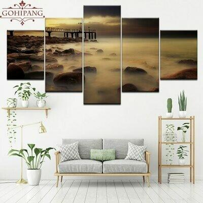 Bridge Early Morning Seascape - 5 Panel Canvas Print Wall Art Set