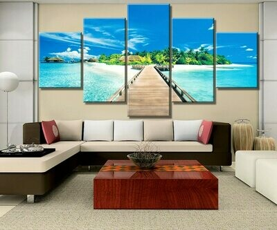 Bridge Maldives - 5 Panel Canvas Print Wall Art Set